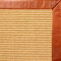 Tan Sisal Rug with Whiskey Leather Border - Free Shipping
