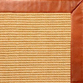 Tan Sisal Rug with Whiskey Leather Border