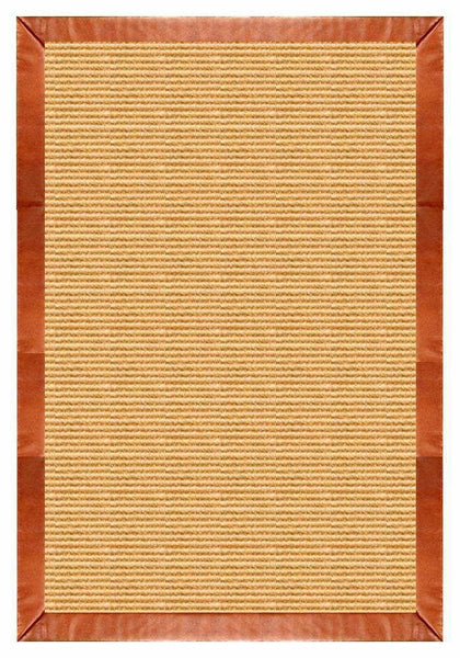 Area Rugs - Sustainable Lifestyles Tan Sisal Rug With Whiskey Leather Border