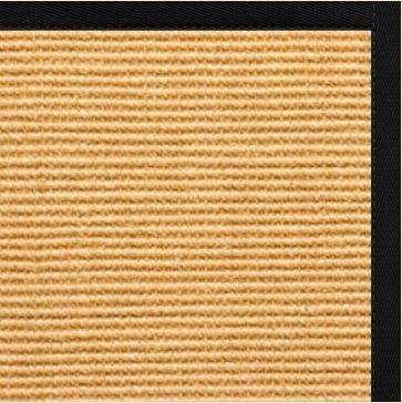 Tight Weave Sisal Rug with Black Onyx Cotton Border