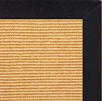 Tight Weave Sisal Rug with Black Onyx Cotton Border - Free Shipping