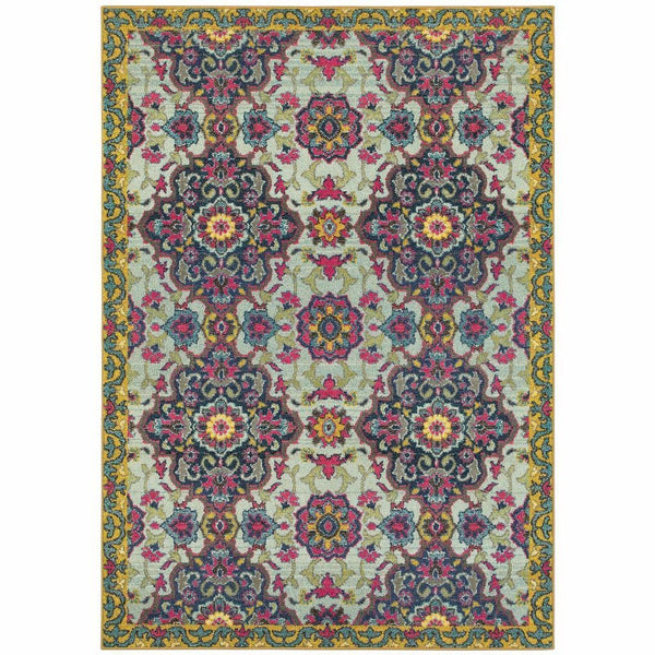 Bohemian Blue Yellow Border Medallion Casual Rug - Free Shipping