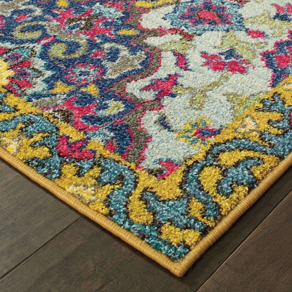 Casual Rug - Bohemian Blue Yellow Border Medallion Casual Rug