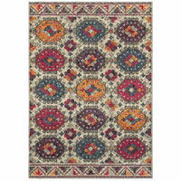 Bohemian Grey Multi Border Medallion Casual Rug - Free Shipping