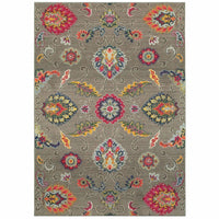 Bohemian Grey Multi Floral  Casual Rug - Free Shipping