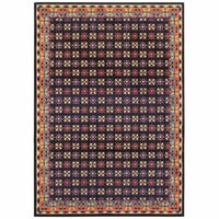 Bohemian Navy Pink Border Geometric Casual Rug - Free Shipping