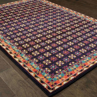 Casual Rug - Bohemian Navy Pink Border Geometric Casual Rug