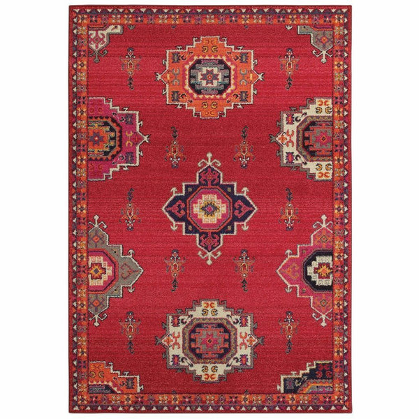 Bohemian Pink Orange Floral Medallion Casual Rug - Free Shipping