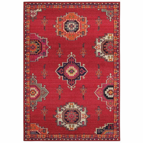 Bohemian Pink Orange Floral Medallion Casual Rug