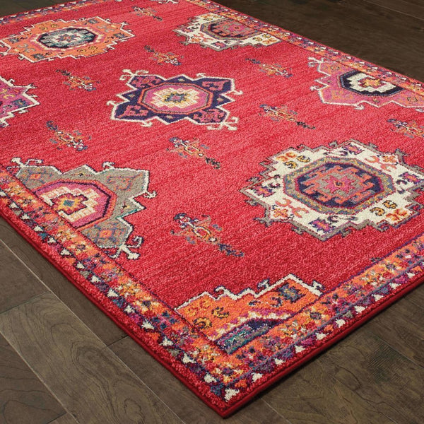 Casual Rug - Bohemian Pink Orange Floral Medallion Casual Rug