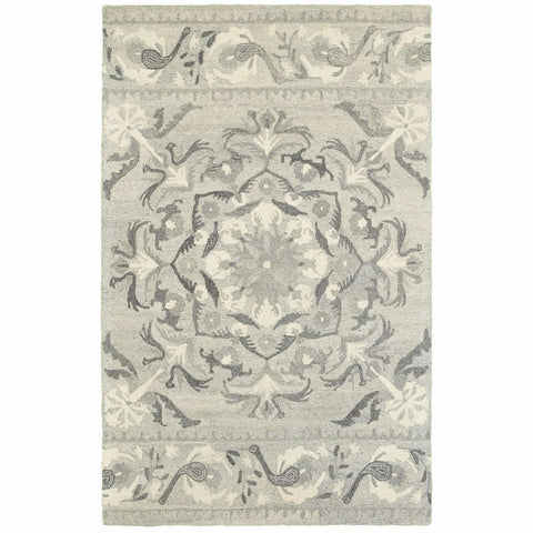 Craft Ash Ivory Floral Border Casual Rug