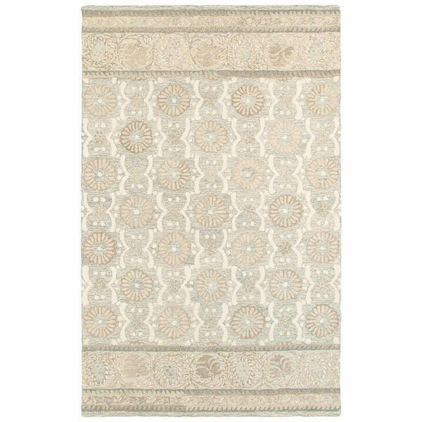 Craft Ash Sand Floral Border Casual Rug - Free Shipping