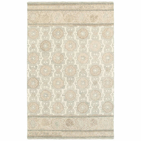 Craft Ash Sand Floral Border Casual Rug
