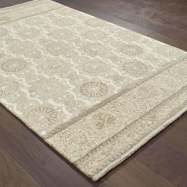 Casual Rug - Craft Ash Sand Floral Border Casual Rug