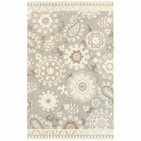 Craft Grey Sand Floral Medallion Casual Rug - Free Shipping