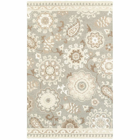 Craft Grey Sand Floral Medallion Casual Rug