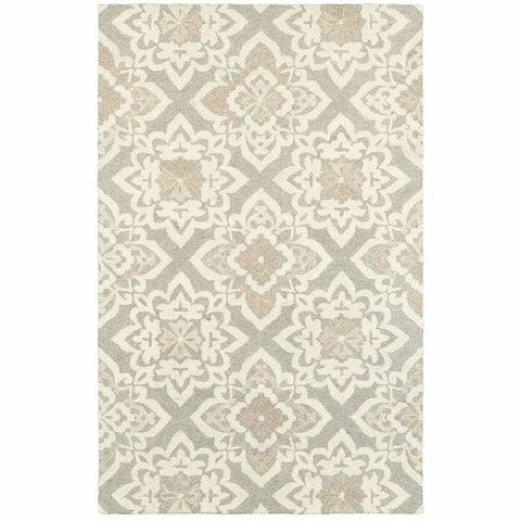 Craft Grey Sand Geometric Lattice Casual Rug