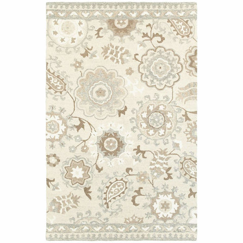Craft Ivory Grey Floral Medallion Casual Rug