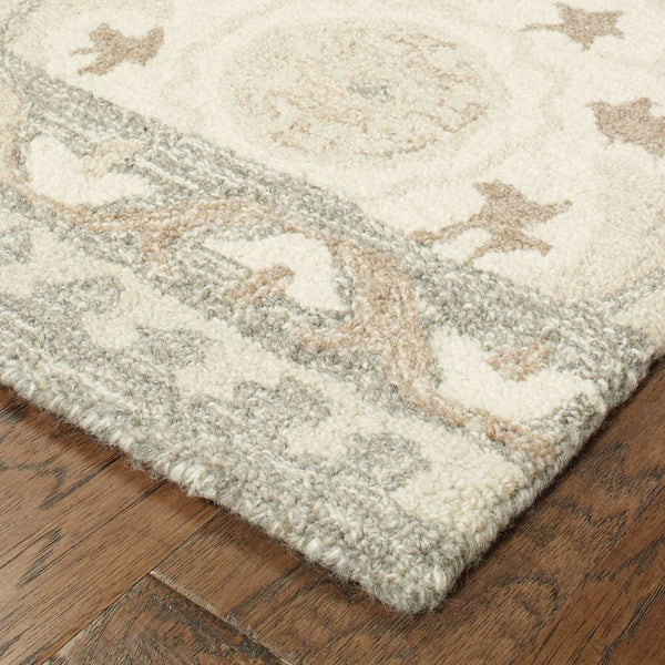 Casual Rug - Craft Ivory Grey Floral Medallion Casual Rug