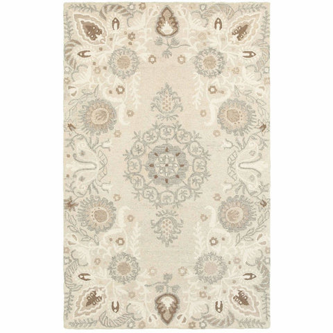 Craft Sand Ash Floral Medallion Casual Rug