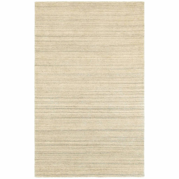 Infused Beige Beige Solid Distressed Casual Rug - Free Shipping