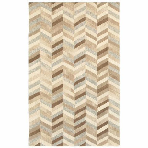 Oriental Weavers Infused Beige Grey Geometric Chevron Casual Rug