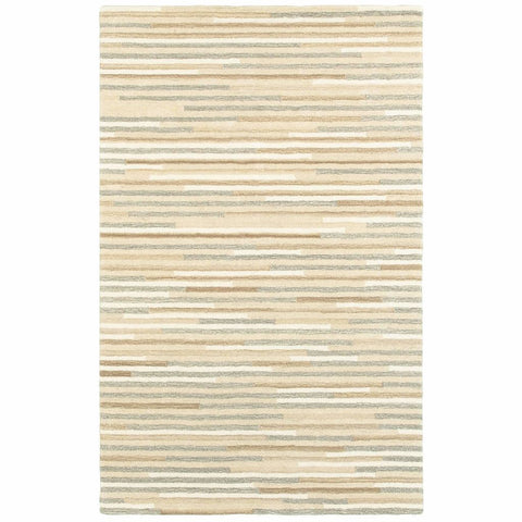 Infused Beige Grey Geometric Stripe Casual Rug