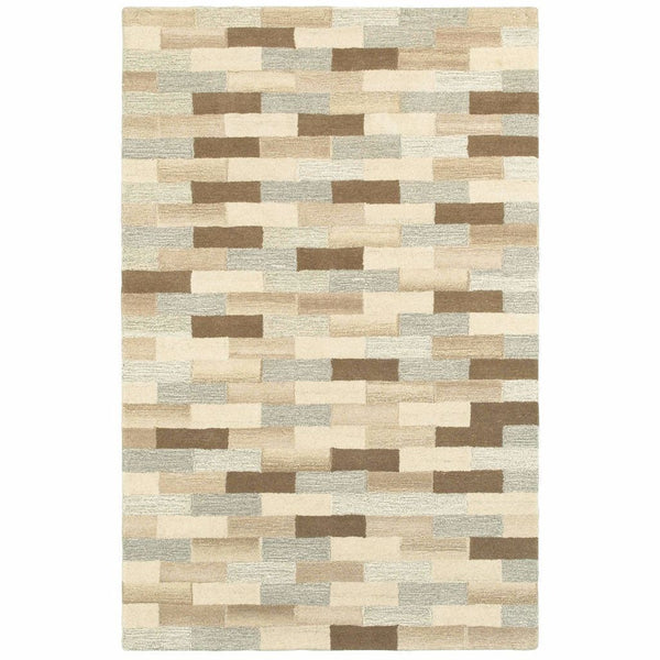 Infused Beige Grey Geometric Stripe Casual Rug - Free Shipping