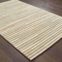 Casual Rug - Infused Beige Grey Geometric Stripe Casual Rug