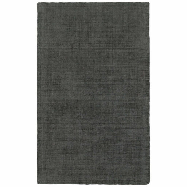Mira Charcoal Charcoal Solid Distressed Casual Rug - Free Shipping