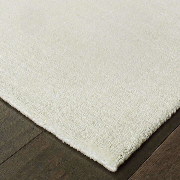 Mira Ivory Ivory Solid Distressed Casual Rug