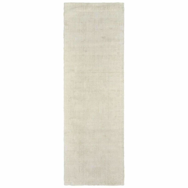 Mira Ivory Ivory Solid Distressed Casual Rug - Free Shipping