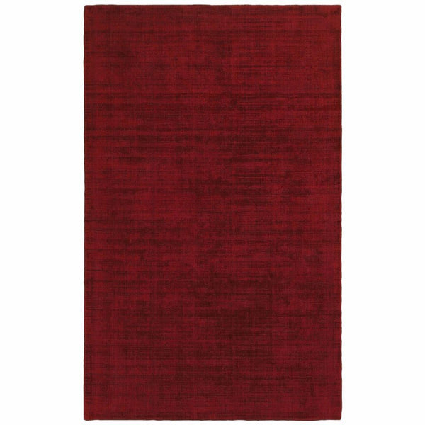 Mira Red Red Solid Distressed Casual Rug - Free Shipping