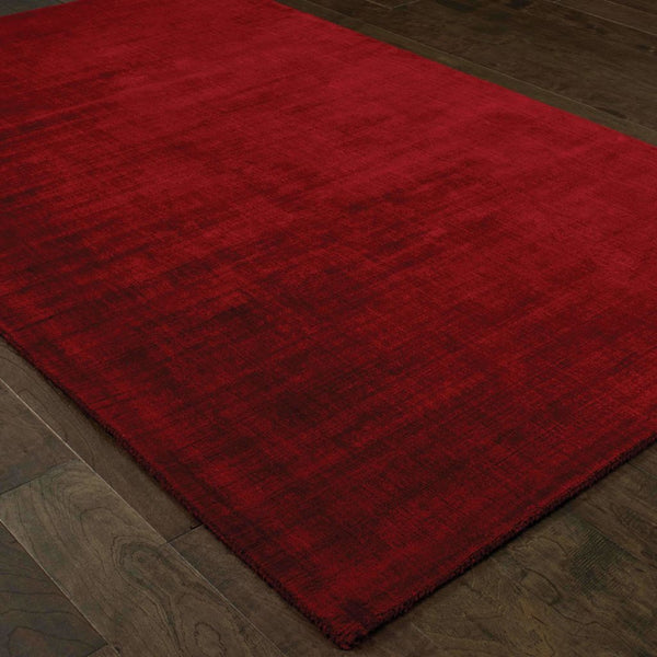 Mira Red Red Solid Distressed Casual Rug