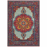 Bohemian Blue Purple Oriental Medallion Traditional Rug - Free Shipping