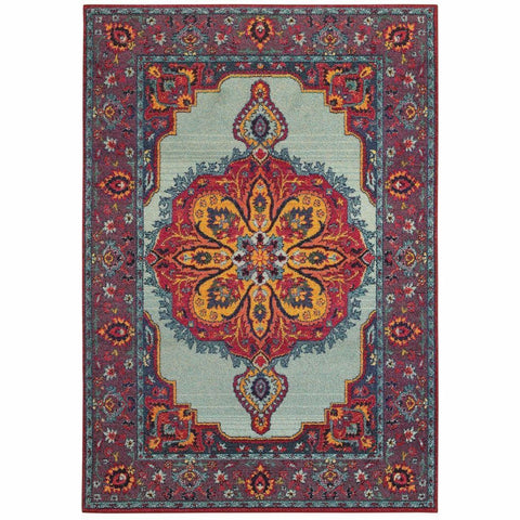 Oriental Weavers Bohemian Blue Purple Oriental Medallion Traditional Rug