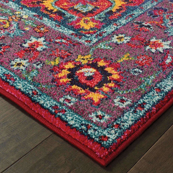 Traditional Rug - Bohemian Blue Purple Oriental Medallion Traditional Rug