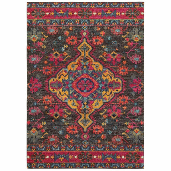 Bohemian Charcoal Pink Oriental Medallion Traditional Rug - Free Shipping