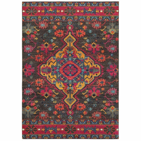Oriental Weavers Bohemian Charcoal Pink Oriental Medallion Traditional Rug