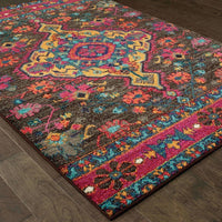 Traditional Rug - Bohemian Charcoal Pink Oriental Medallion Traditional Rug