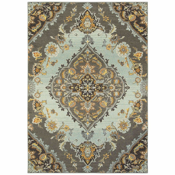 Bohemian Grey Blue Oriental Medallion Traditional Rug - Free Shipping