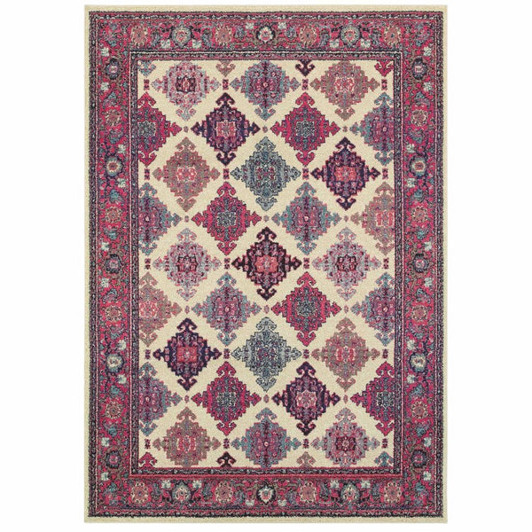 Bohemian Ivory Pink Oriental Lattice Traditional Rug - Free Shipping
