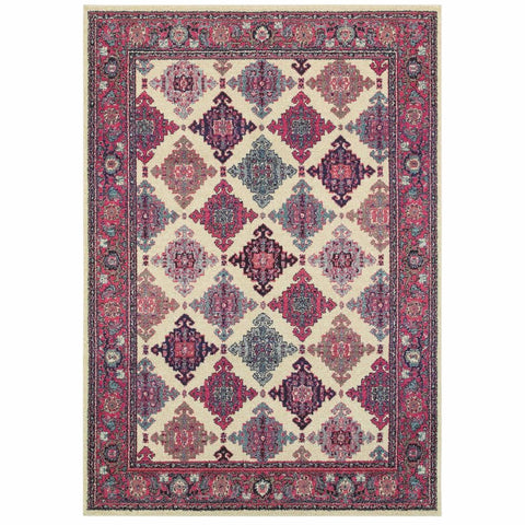 Oriental Weavers Bohemian Ivory Pink Oriental Lattice Traditional Rug