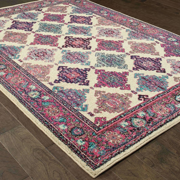 Traditional Rug - Bohemian Ivory Pink Oriental Lattice Traditional Rug