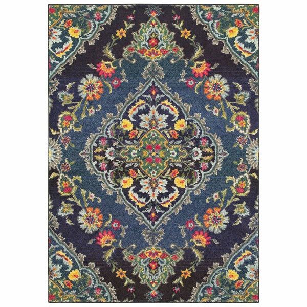 Bohemian Navy Blue Oriental Medallion Traditional Rug - Free Shipping