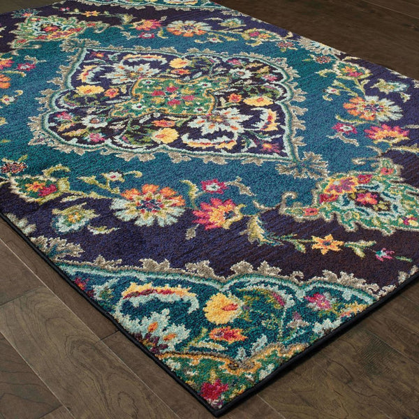 Traditional Rug - Bohemian Navy Blue Oriental Medallion Traditional Rug