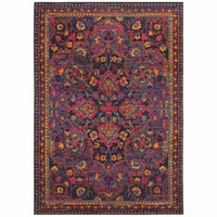 Bohemian Navy Pink Oriental Border Traditional Rug - Free Shipping