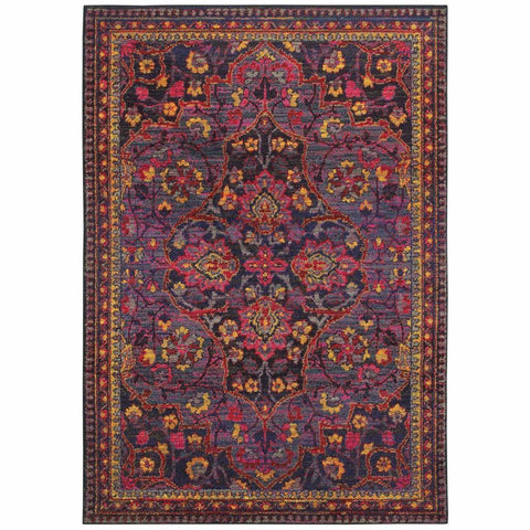 Oriental Weavers Bohemian Navy Pink Oriental Border Traditional Rug