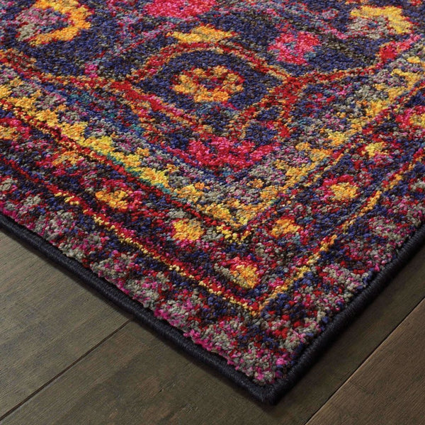 Traditional Rug - Bohemian Navy Pink Oriental Border Traditional Rug
