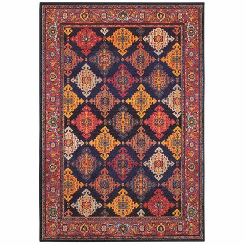 Bohemian Navy Yellow Oriental Lattice Traditional Rug